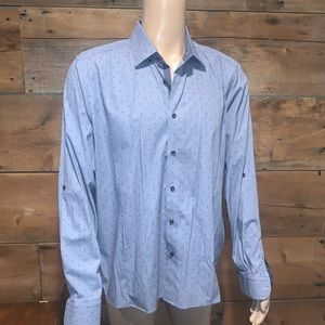 Ted Baker Mens Navy Printed Dress Shirt SZ.6